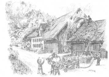 Brand an der Postgasse (Zeichnung Max Furter)