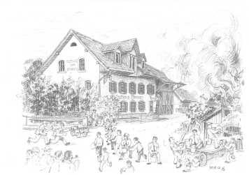 Eimerkette vom Sternenweiher (Zeichnung Max Furter)