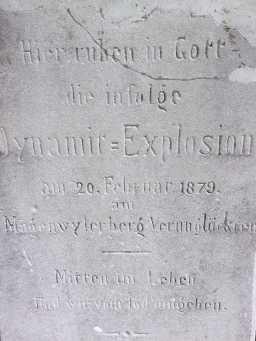 Bei einer Explosion 1879 wurden eine fünfköpfige Familie und zwei Steinbrucharbeiter getötet.